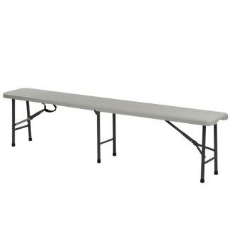 Bench foldable plastic 183x28x44cm white